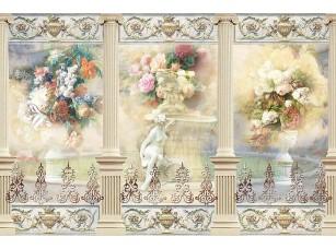Фотообои «Абстрактный рисунок с колоннами и скульптурами»