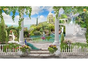 Фотообои «Большая терраса с колоннами и видом на сад»