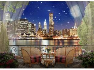 Фотообои «Вид с балкона на ночной город в огнях»
