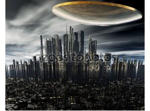 Фотообои «3D чужеродных НЛО космический корабль»