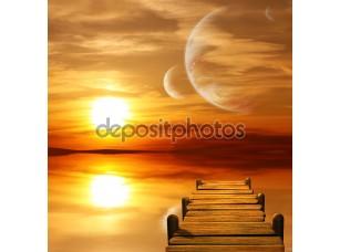 Фотообои «Заходящее солнце на чужой планете»