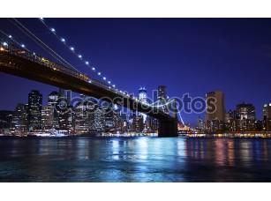 Фотообои «Бруклинский мост и горизонт в ночное время»