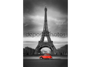 Фотообои «Эйфелева башня и старый красный автомобиль-Париж»