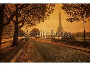 Фотообои «Винтажном стиле картина Просмотр улиц в Париже»