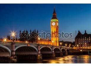 Фотообои «Биг Бен и палаты парламента ночью, Лондон, Соединенное Королевство»