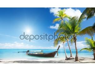 Фотообои «Деревянные лодки на пляже»