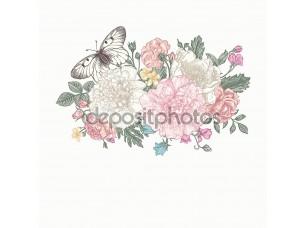 Фотообои «Букет цветов и бабочки»