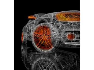 Фотообои «3D модель автомобиля на черном фоне.»