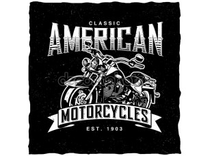 Фотообои «Classic American Motorcycles label design with hand drawn motorcycle for posters, t-shirts, greeting cards etc.»