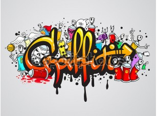 Фотообои «Graffiti characters composition print»