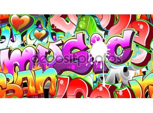 Фотообои «Graffiti Urban Art Background. Seamless design»