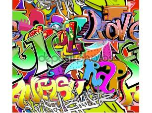 Фотообои «Graffiti wall. Urban art vector background. Seamless hip hop tex»