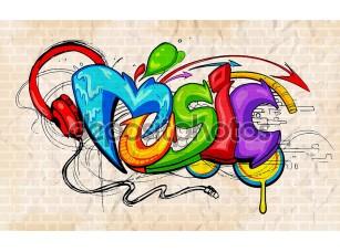Фотообои «Graffiti style Music background»