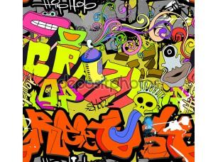 Фотообои «Graffiti wall art background. Hip-hop style seamless texture pat»