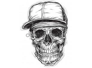 Фотообои «Sketchy Skull with Cap and Bandana»