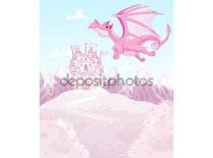 Фотообои «Волшебный Дракон на фоне принцесса замок»