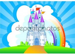 Фотообои «Волшебный замок с радугой»