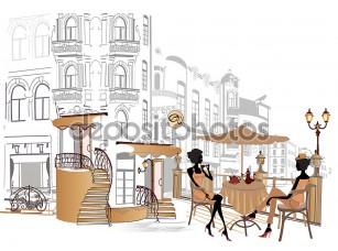 Фотообои «Арт кафе на улице»