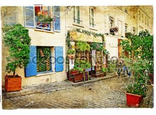 Фотообои «Улицы старого Монмартр (Париж)-акварель стиль»