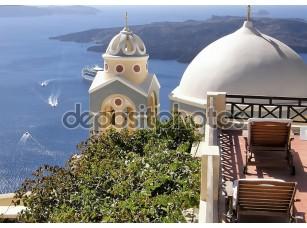 Фотообои «Купола церковь в Греции»