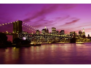 Фотообои «Бруклинский мост и Манхэттен на закате, Нью-Йорк»