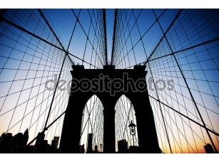 Фотообои «Бруклинский мост в Нью-Йорке в сумерках.»