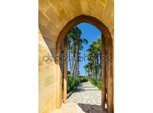 Фотообои «арочные двери на пальмовая аллея»