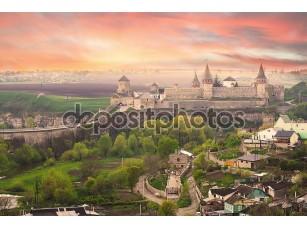 Фотообои «Dramatic view on the castle in Kamianets-Podilskyi»
