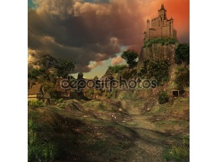 Фотообои «Medieval castle in a valley»