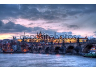 Фотообои «Prague castle at night - HDR photo»