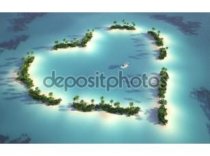 Фотообои «Аэрофотоснимок сердце образный остров»