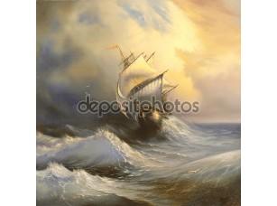 Фотообои «Древние парусное судно в бурном море»