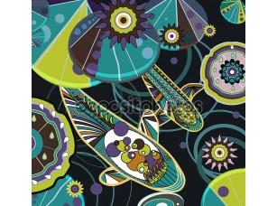 Фотообои «Абстрактный рисунок с рыбами»