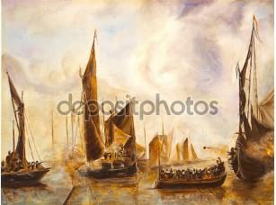 Фотообои «Искусство нефти живописи картина морской бой»