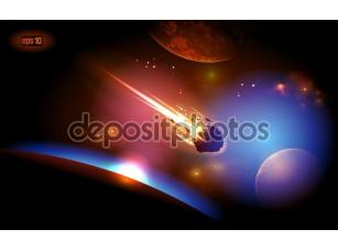Фотообои «Астероид является приближается к планете.»