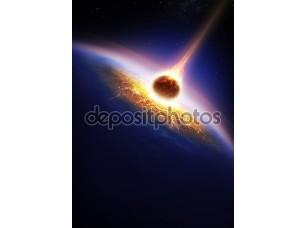 Фотообои «Земля и столкновения астероидов»