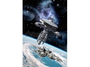 Фотообои «Obital космической станции и космический корабль»