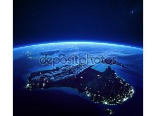 Фотообои «Австралия с огни города из космоса ночью»