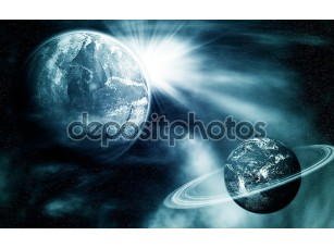 Фотообои «Вид пространства с двух планет»