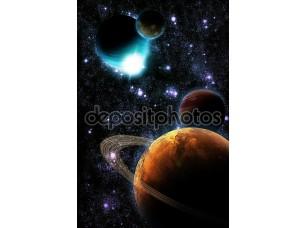 Фотообои «Абстрактный планеты с солнечной вспышки в глубоком космосе - звезды туманности снова»