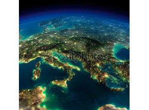 Фотообои «Земля ночью, кусочек Европы - Италии и Греции»