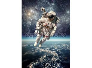 Фотообои «Астронавтов в космосе на фоне Земли»