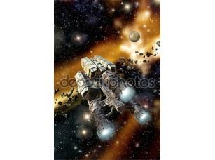 Фотообои «Грузовой корабль в астероидное поле»