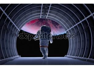 Фотообои «Астронавт в туннеле»