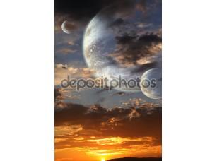 Фотообои «Закат на чужой планете»