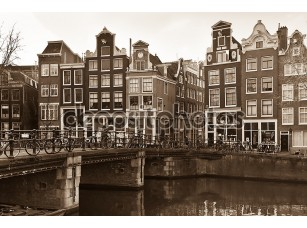 Фотообои «Amsterdam Canal Street view in Sepia»