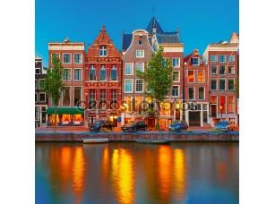 Фотообои «Night city view of Amsterdam canal with dutch houses»