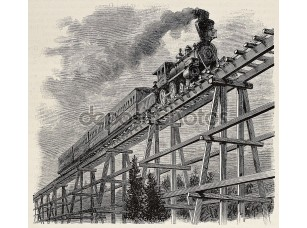 Фотообои «Train upon bridge»