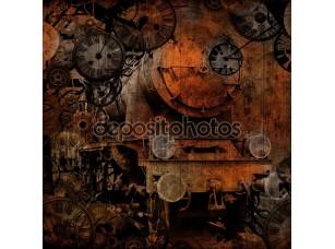 Фотообои «Grunge vintage steam locomotive time machine»