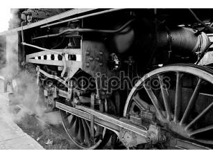 Фотообои «Wheels of an old steam locomotive»